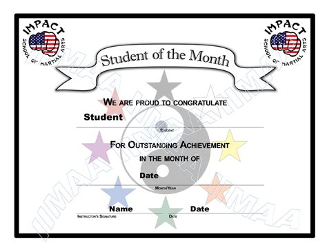 student of the year certificate template martial arts certificate student of the month