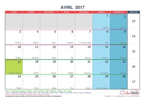 Calendrier Vacances Avril 2017 Calendrier Mensuel Mois D Avril 2017 Avec F 234 Tes Jours