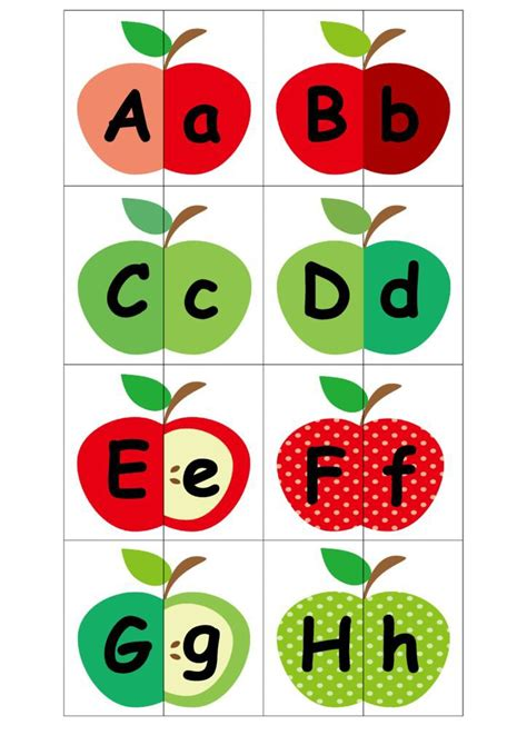 printable alphabet matching cards apple alphabet matching game free printables malaysian mom