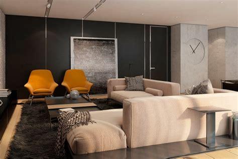 black and orange living room interior design ideas
