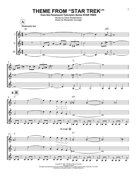 theme music to fortitude theme from star trek sheet music by alexander courage