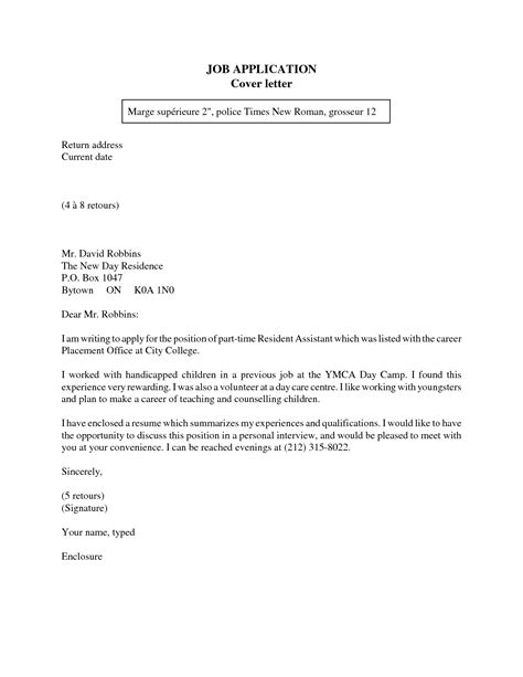 cover letter for applying a job cover letter exle