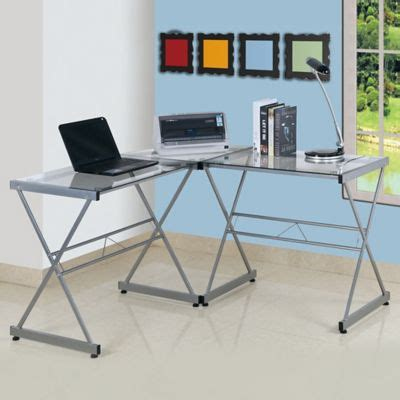 Bed Bath And Beyond Desk L by Techni Mobili L Shaped Glass Computer Desk Bed Bath Beyond