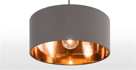 grey ceiling light hue pendant shade grey copper made