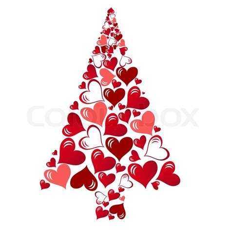 abstract vector christmas tree with lovely hearts stock