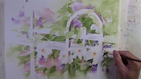 watercolor garden tutorial quot garden gate quot companion narrated step by step transparent