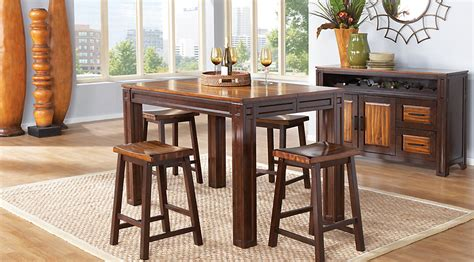 rooms to go bar table adelson chocolate 5 pc counter height dining room dining