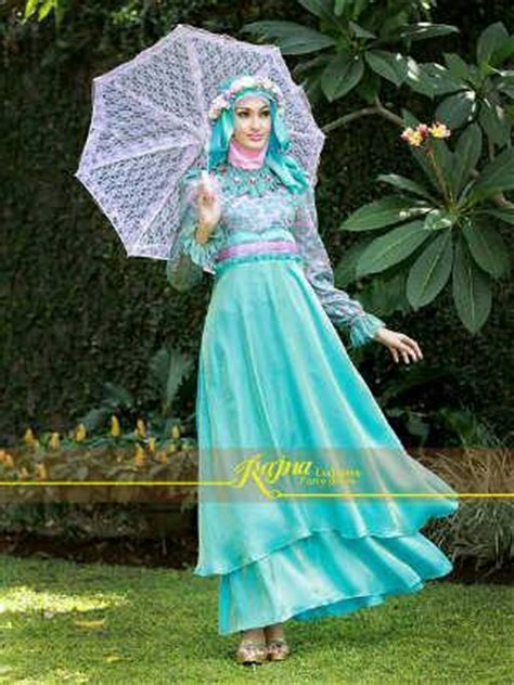 Gamis Pelangi Hijabers Princess princess rajna biru baju muslim gamis modern