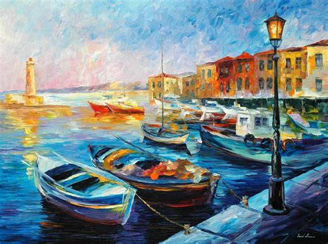 fishing boat art work leonid afremov oil on canvas palette knife buy original