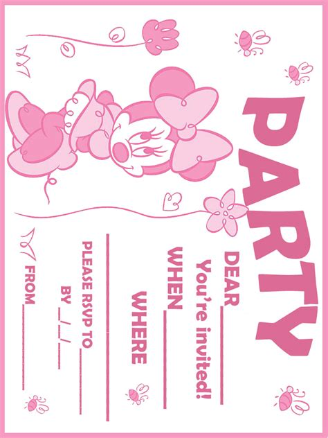 minnie mouse birthday invitation card template printable minnie mouse birthday invitations bagvania