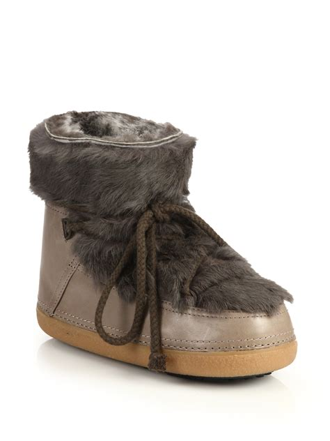 ikkii leather and rabbit fur moon boots in brown lyst