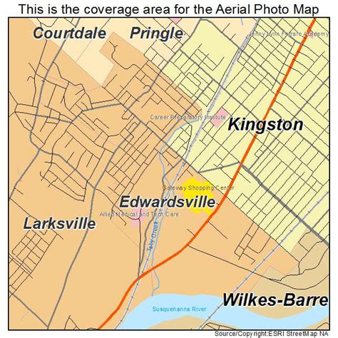 aerial photography map of edwardsville pa pennsylvania