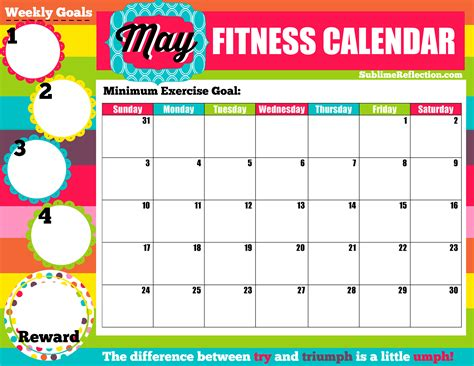 Fitness Calendar May Fitness Calendar Sublime Reflection