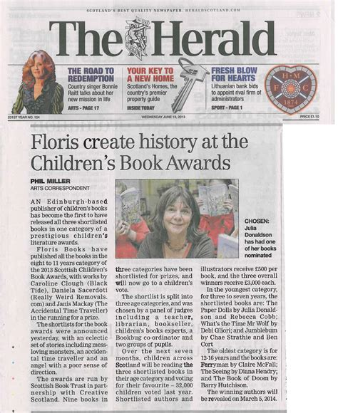 Books Newpapers As by Floris Hits The Headlines Floris Books Blogfloris Books