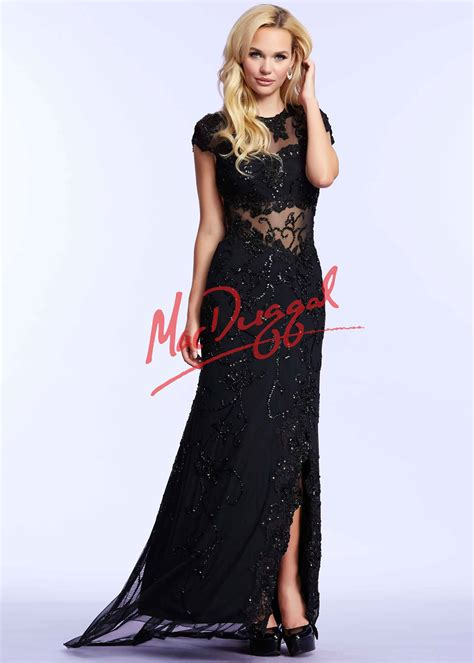 Mac Formal Black Collection by Mac Duggal 1903 Black Beaded Lace Jersey Dress