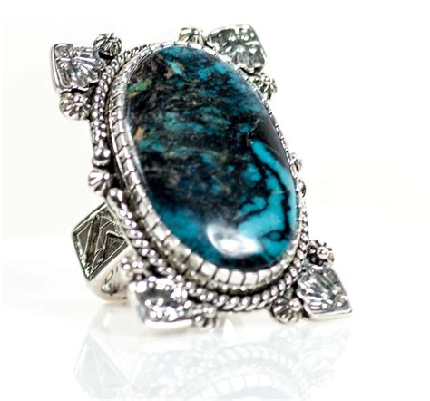 blue turquoise ring in sterling silver