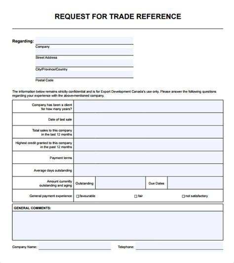 Credit Facility Form Format Sle Trade Reference 5 Documents In Pdf