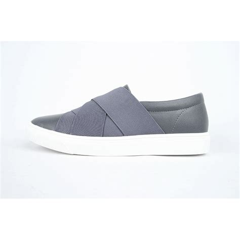 no lace sneakers s gray synthetic leather slip on no lace up fashion
