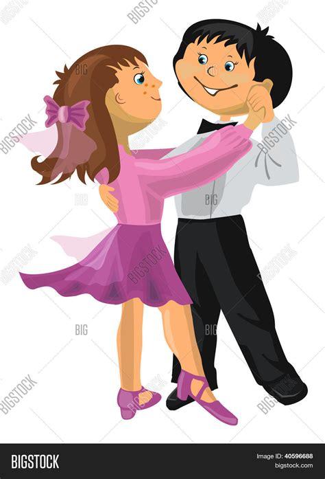 imagenes animadas bailando vector y foto dibujos animados chico y chica bigstock