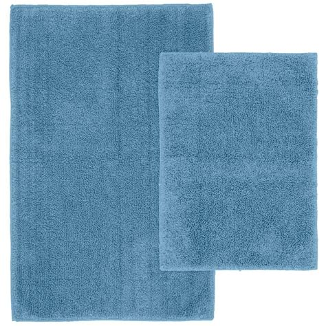 Blue Bathroom Rug Sets Garland Rug Cotton Sky Blue 21 In X 34 In Washable Bathroom 2 Rug Set Que 2pc 03