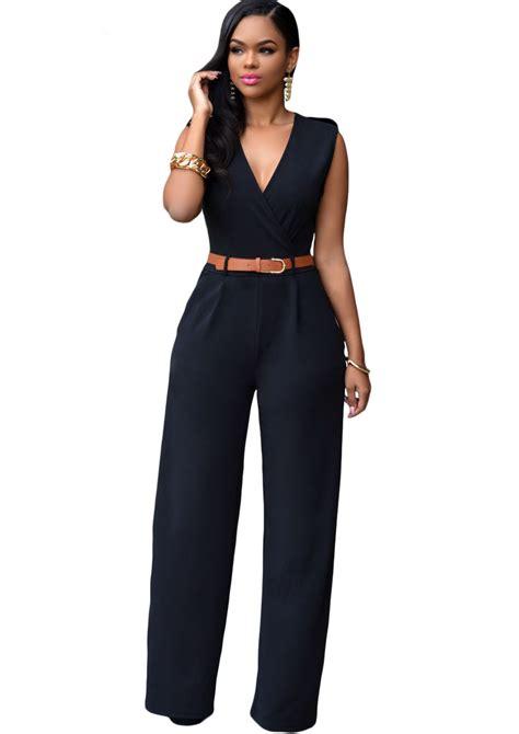 Embellished V Neck Jumpsuit black v neck belt embellished jumpsuit