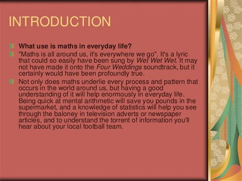 application of mathematics in daily life