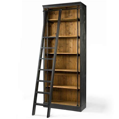 metal ladder bookcase ashlyn rustic lodge pine wood metal ladder bookcase