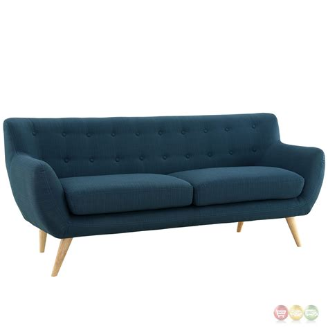 upholstered sofa remark modern upholstered sofa with button accents azure