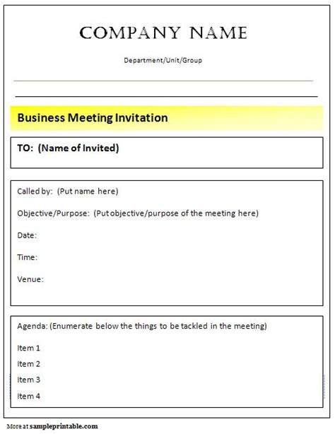 business meeting invitation printable business meeting