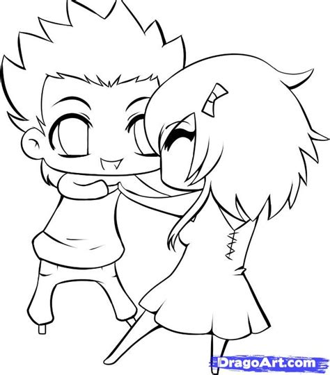 chibi couple coloring pages love couples drawings