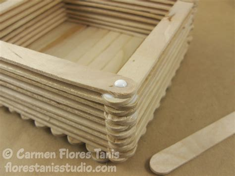 Box Stik springtime decorated wooden popsicle stick box kool tak