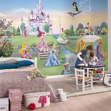 Disney Princess Castle Wall Stickers childrens bedroom disney amp character wallpaper wall mural
