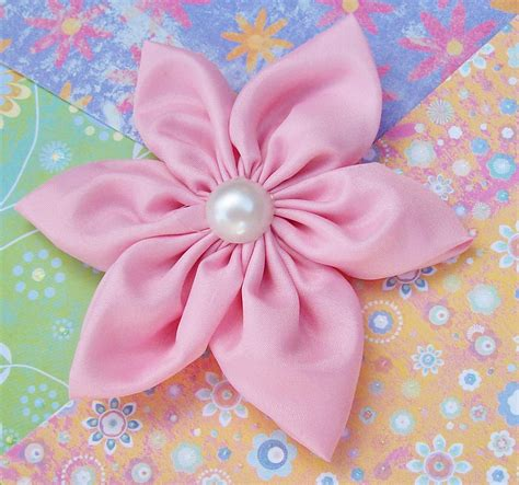 Handmade Flower With Fabric - handmade fabric flower pinkalicious pink satin by