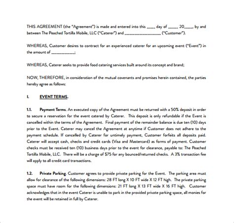 sle catering contract pdf template free download