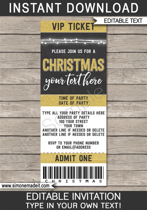christmas party ticket template gold ticket invitations printable ticket invites