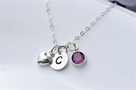 Birthstone Initial Necklace   Swarovski Birthstone, Sterling Silver Tiny Heart Charm And Round