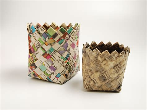 A Paper Basket - woven map basket make diy projects how tos