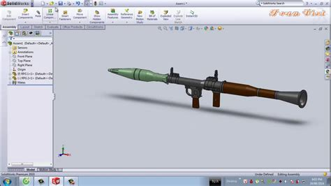 solidworks tutorial gun solidworks tutorial rpg 7 youtube