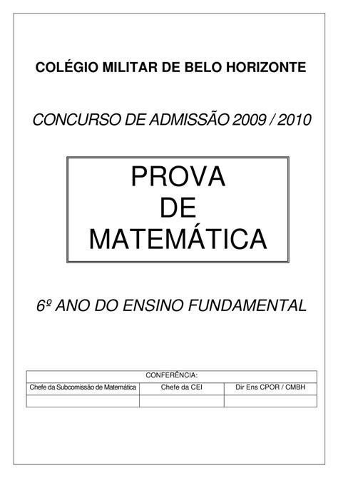 Calaméo - Prova de matemática 6º Ano 0910