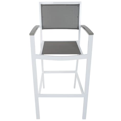 Grey Bar Stools With Arms by Riviera White Grey Commercial Grade Outdoor Sling Outdoor