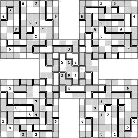 printable sudoku jigsaw puzzles oddeven jigsaw samurai sudoku sudoku variations