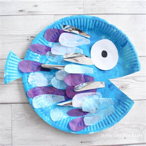 paper fish craft paper plate rainbow fish craft arty crafty