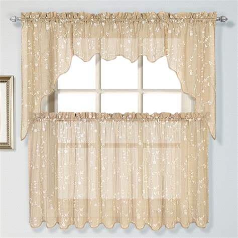country kitchen curtain embroidered curtains taupe united country