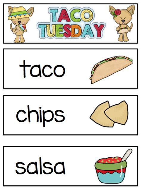 Taco Card Template by Free Taco Tuesday Pocket Chart Cards Plus Menu Preschool