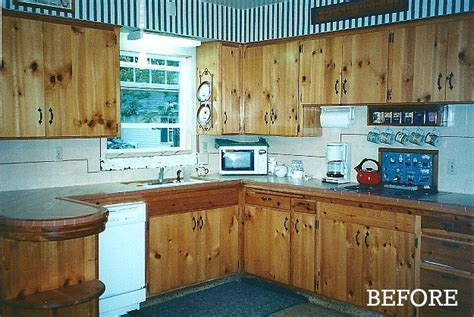 Candice's kitchen before knotty pine cabs   Hooked on Houses