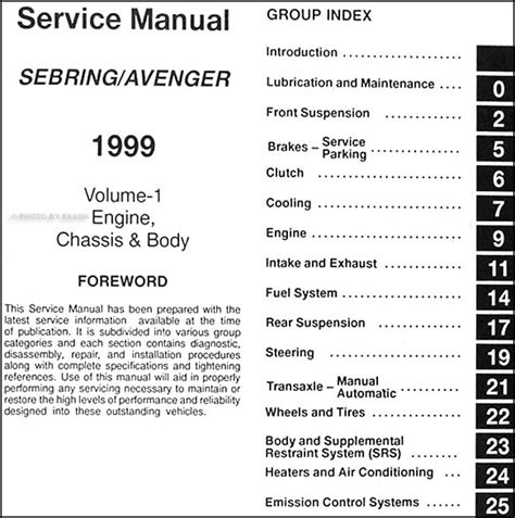 car engine manuals 1999 dodge avenger auto manual service manual auto manual repair 1999 dodge avenger engine control service manual car