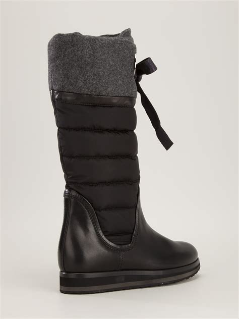 moncler quilted knee high boot in black lyst