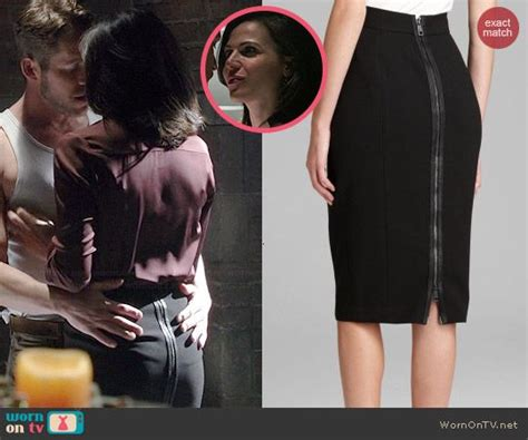 dark back of time 0099287463 regina s black zip back pencil skirt on once upon a time outfit details http wornontv net