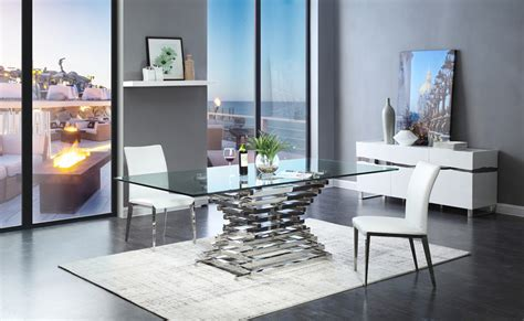 modern glass dining table modrest modern rectangular glass dining table