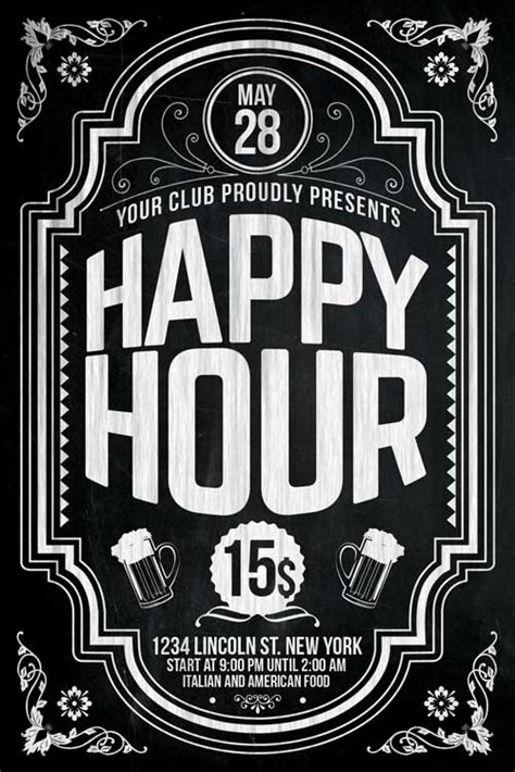 happy hour sign template happy hour flyer template psd xtremeflyers